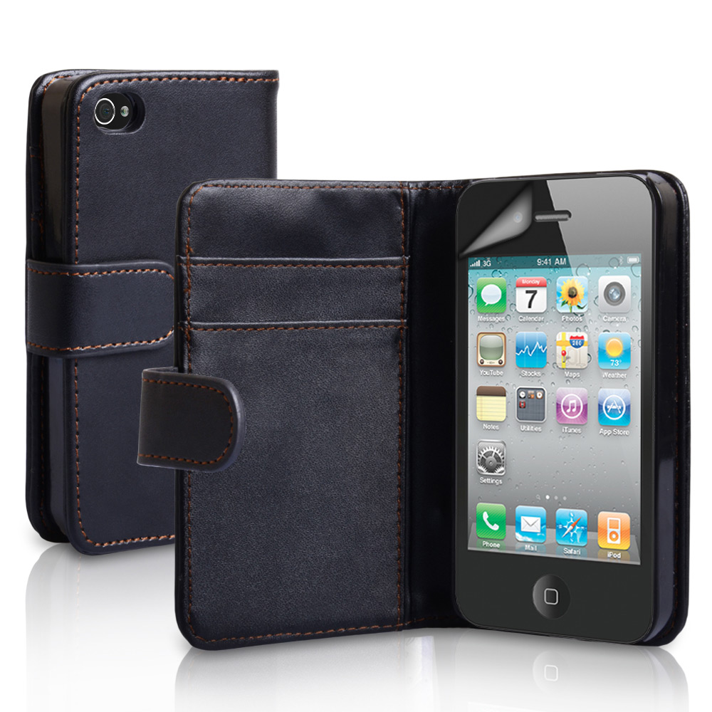 YouSave Accessories iPhone 4 / 4S Leather Effect Wallet Case - Black
