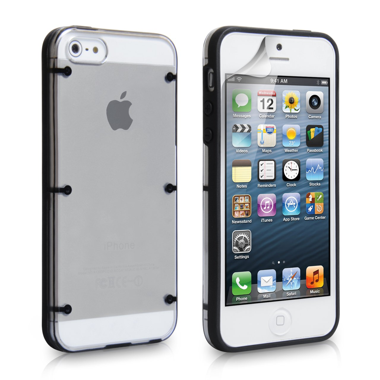 YouSave iPhone 5 / 5S 6 Dot Design Hard Hybrid Case - Black
