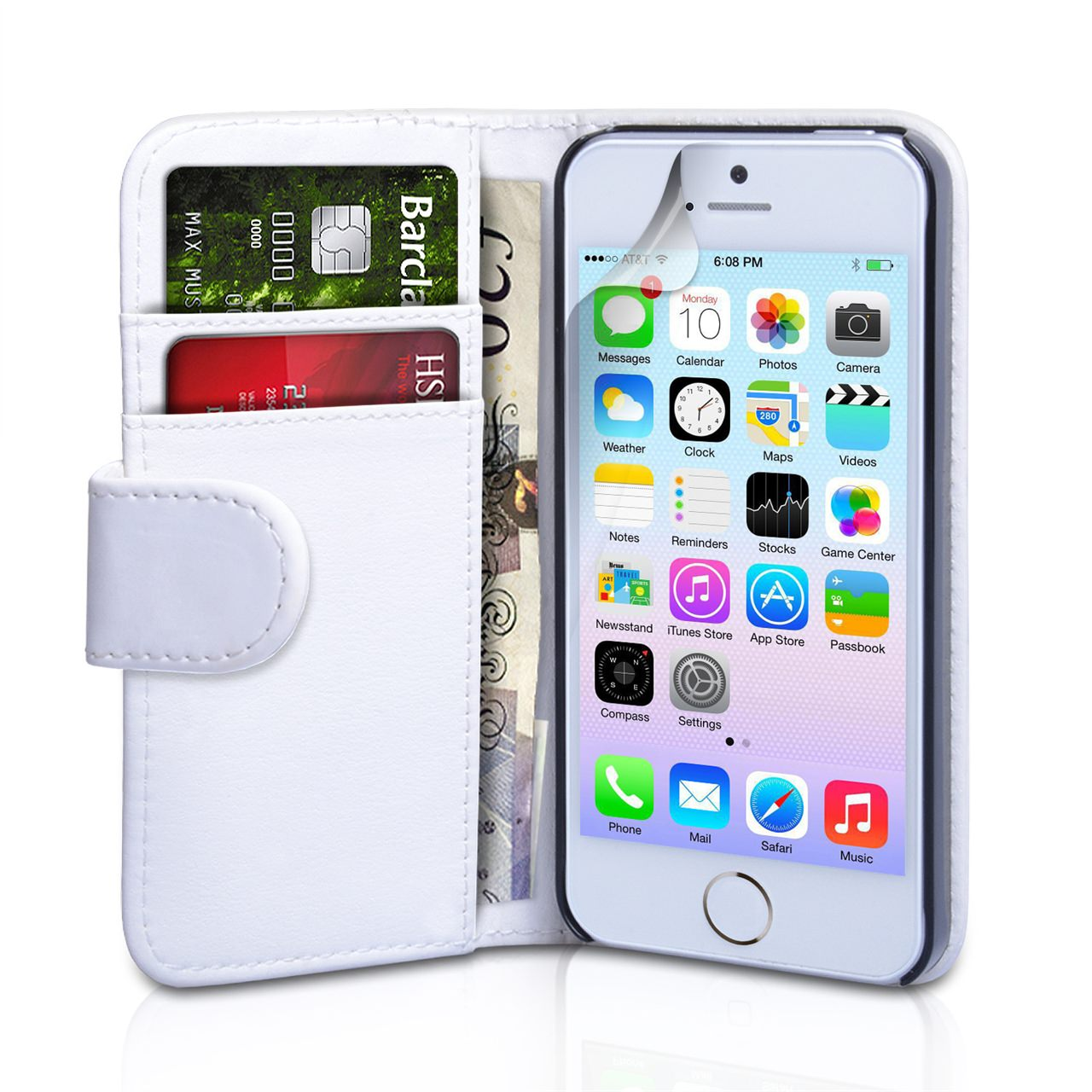 YouSave Accessories iPhone 5 / 5S White Leather Effect Wallet Case