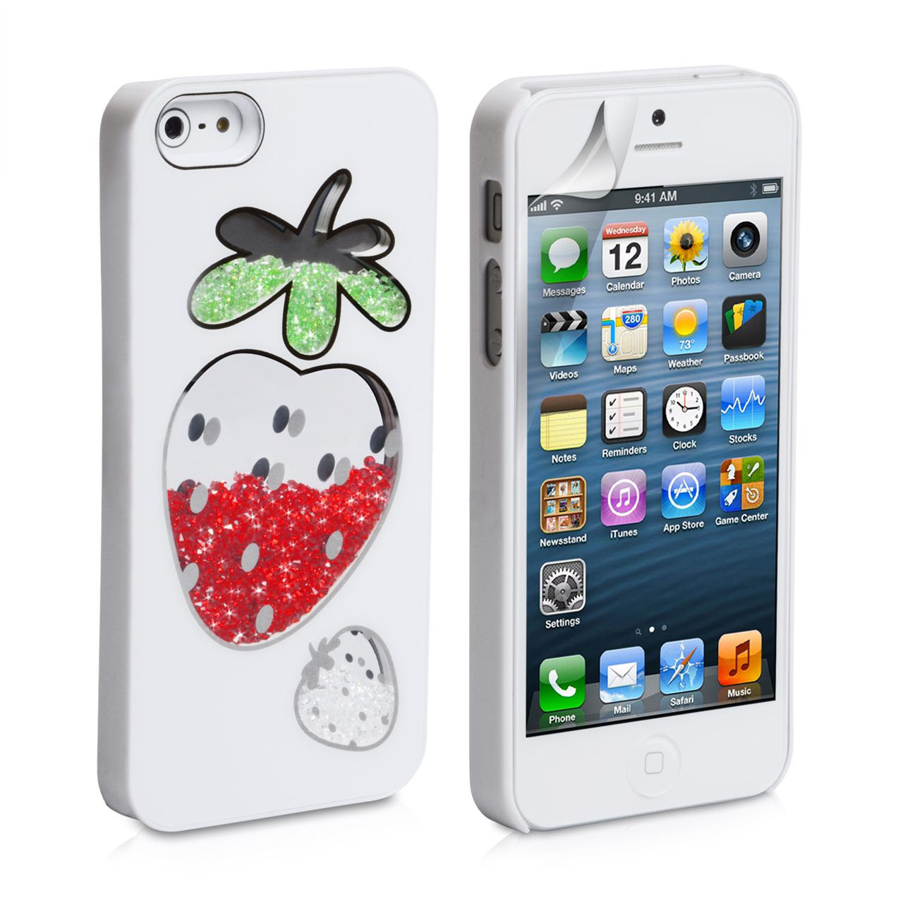YouSave Accessories iPhone 5 / 5S Strawberry Bling Hard Case - White