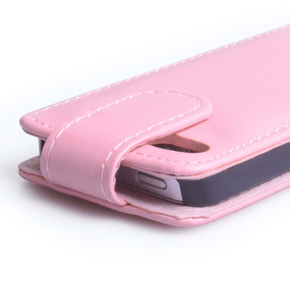 YouSave Accessories iPhone 5 / 5S Baby Pink Leather Effect Flip Case