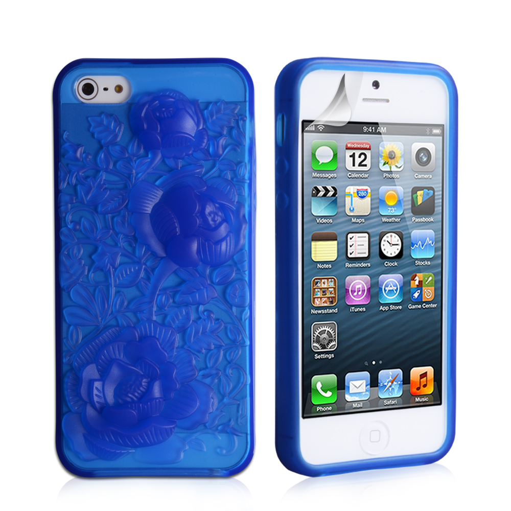 YouSave Accessories iPhone 5 / 5S Gel Case - Blue-Rose
