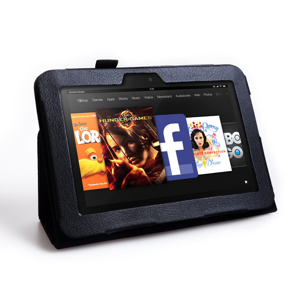 Caseflex Kindle Fire HD Textured Faux Leather Stand Case - Black