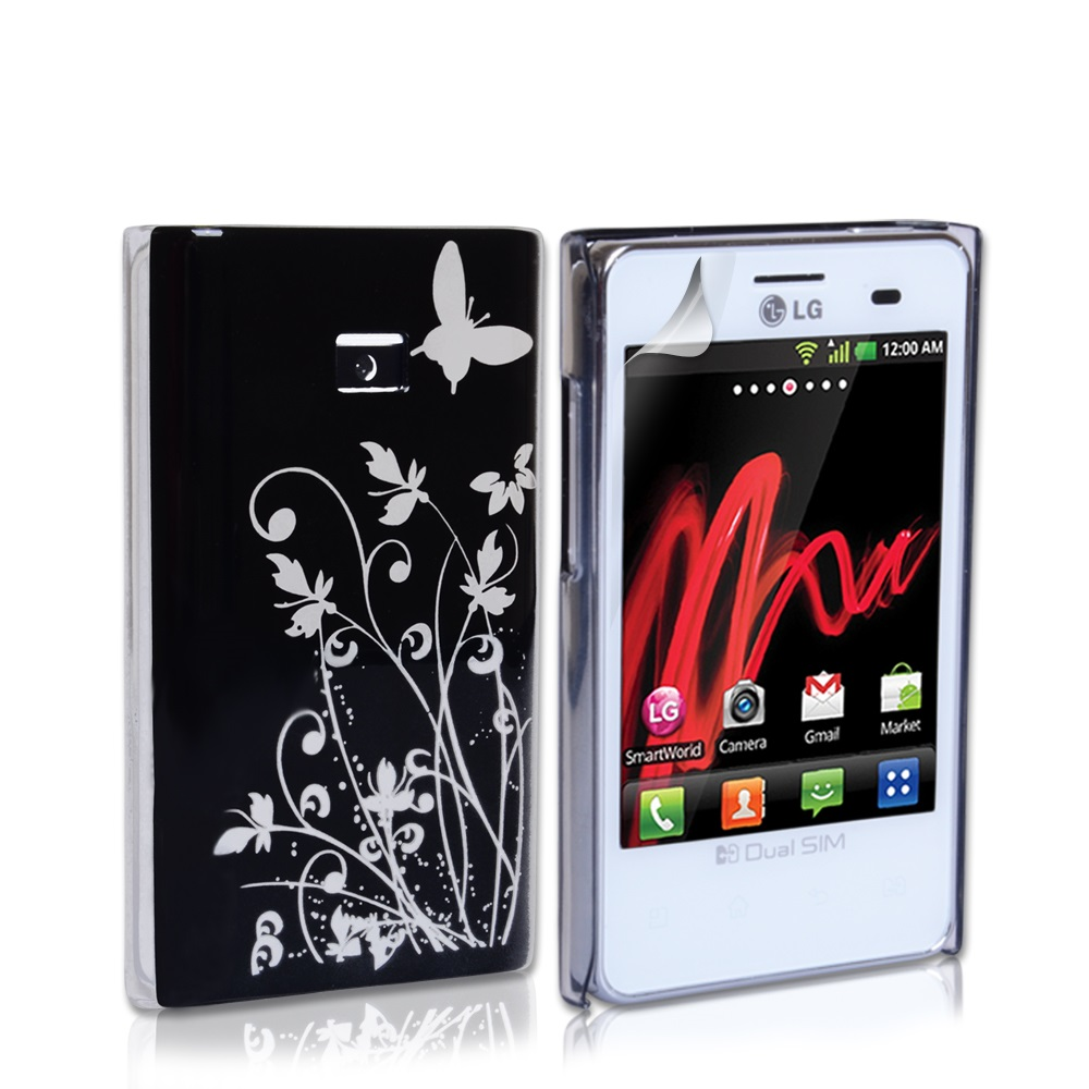 YouSave Accessories LG Optimus L3 Black Butterfly IMD Hard Case