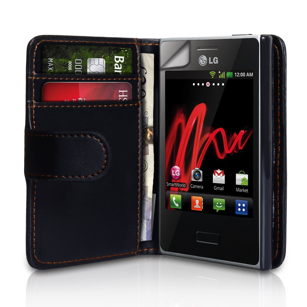 YouSave Accessories LG Optimus L3 Black Leather Effect Wallet Case