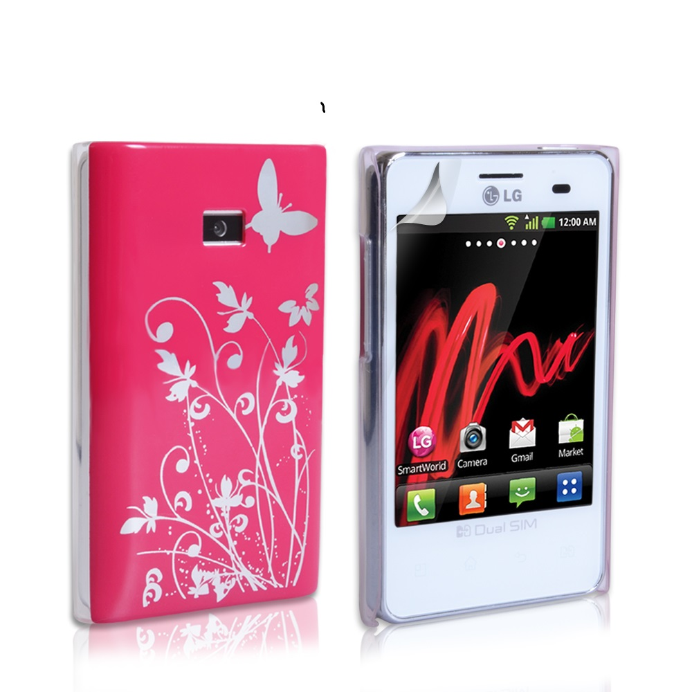 YouSave Accessories LG Optimus L3 Hot Pink Butterfly IMD Hard Case