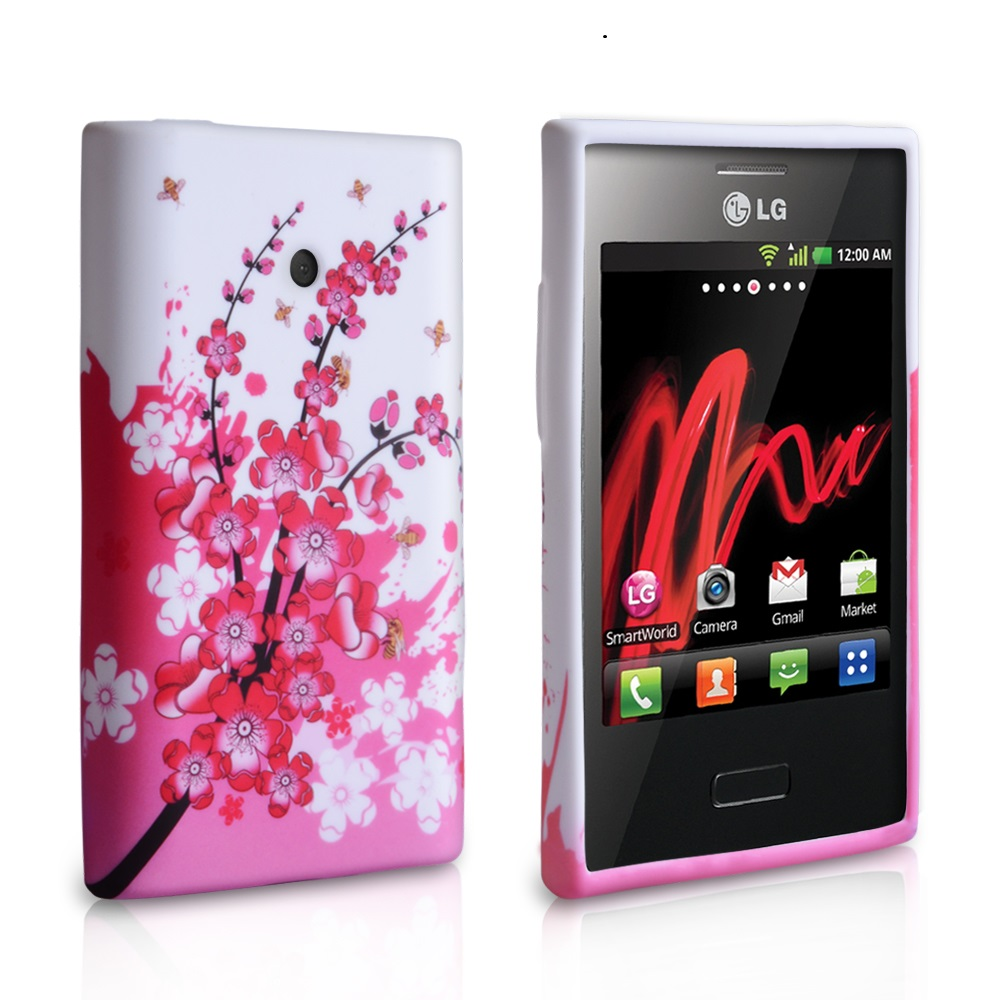 YouSave Accessories  LG Optimus L3 Floral Bee Silicone Gel Case