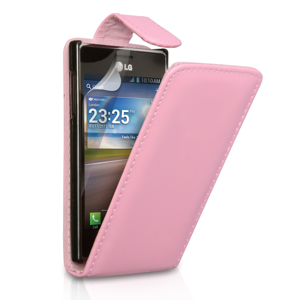 YouSave Accessories LG Optimus L5 Baby Pink Leather Effect Flip Case