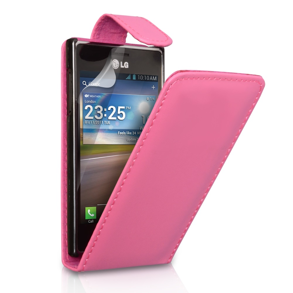 YouSave Accessories LG Optimus L5 Hot Pink Leather Effect Flip Case