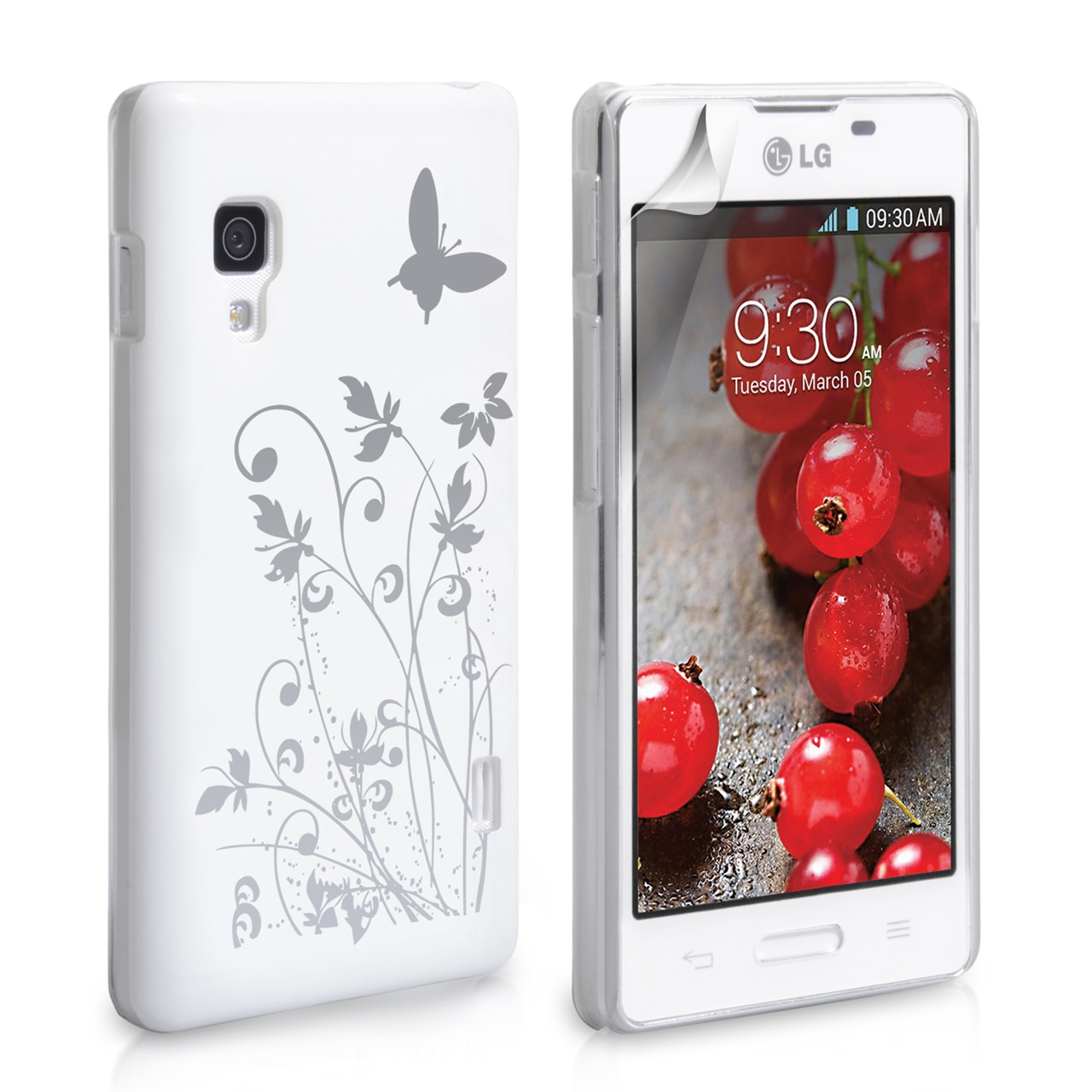 YouSave Accessories LG Optimus L5 II White Butterfly Hard Case