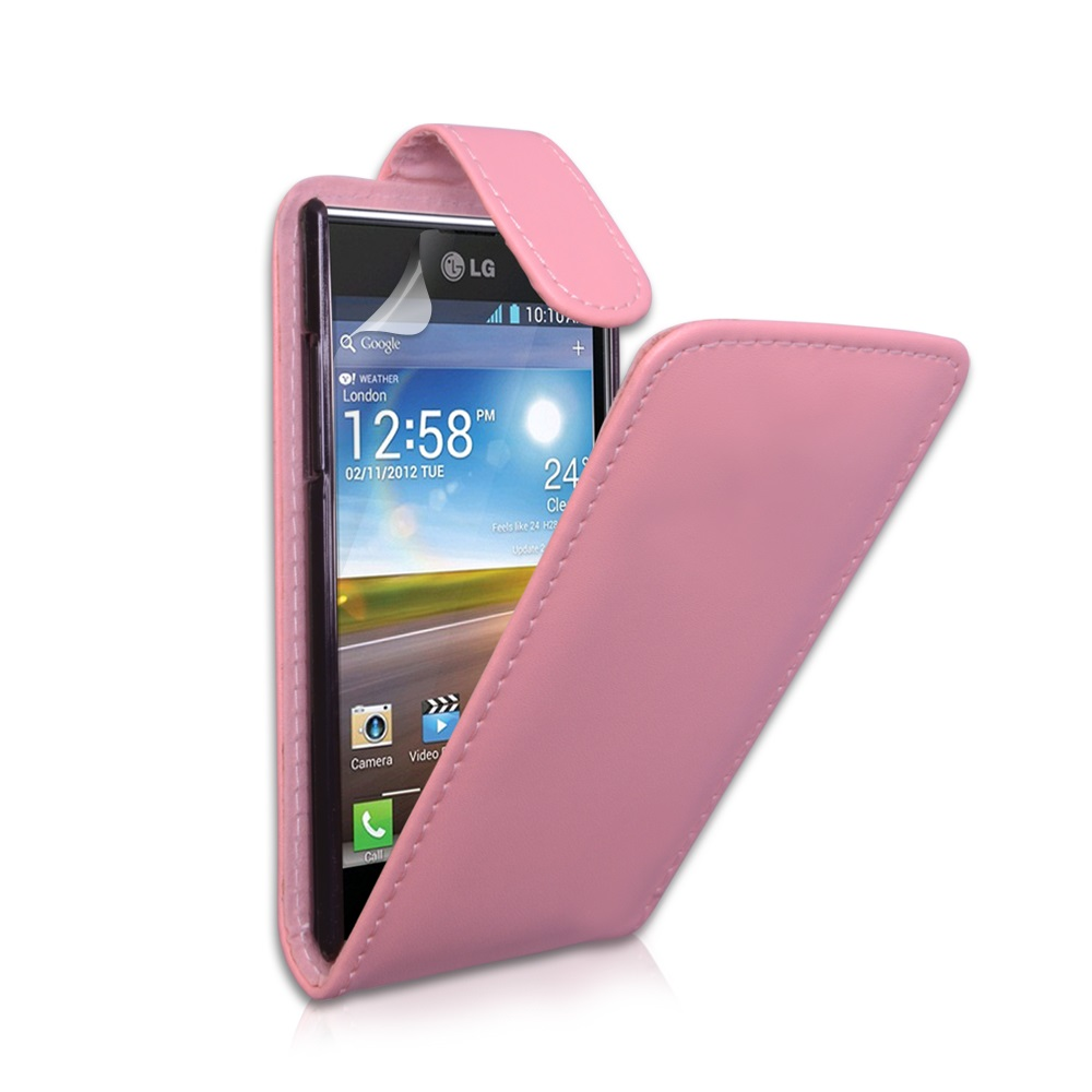 YouSave Accessories LG Optimus L7 Baby Pink Leather Effect Flip Case