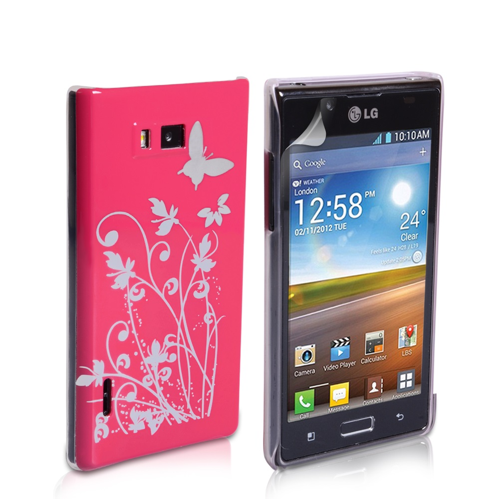 YouSave Accessories LG Optimus L7 Hot Pink Butterfly IMD Hard Case