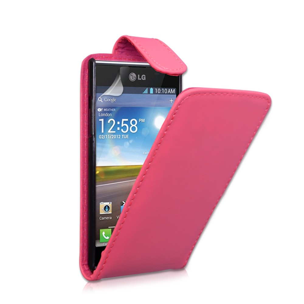 YouSave Accessories LG Optimus L7 Hot Pink Leather Effect Flip Case