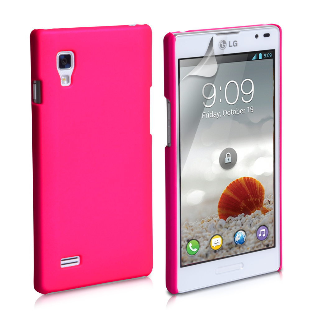 YouSave Accessories LG Optimus L9 Hot Pink Hard Hybrid Case