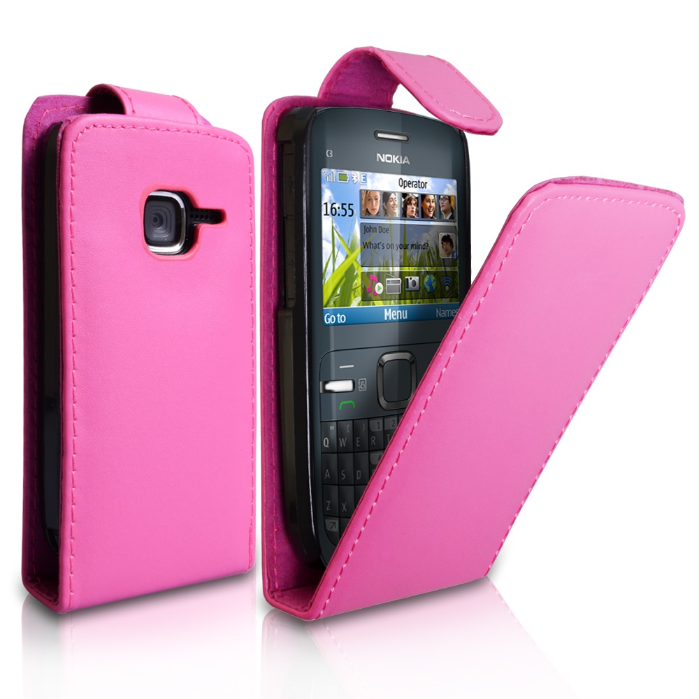YouSave Accessories Nokia C3 Pink Leather Effect Flip Case