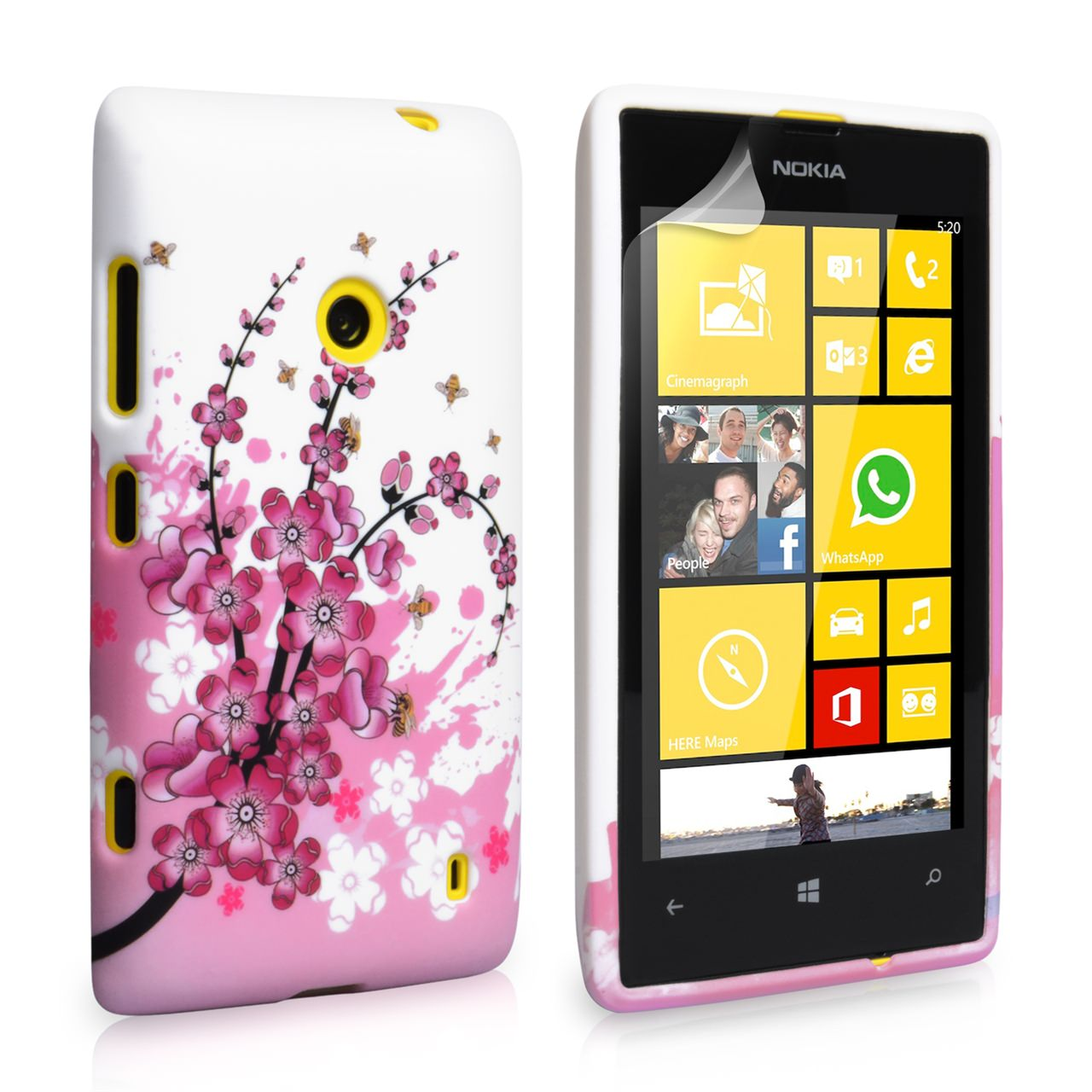 YouSave Accessories Nokia Lumia 520 Floral Bee Silicone Gel Case