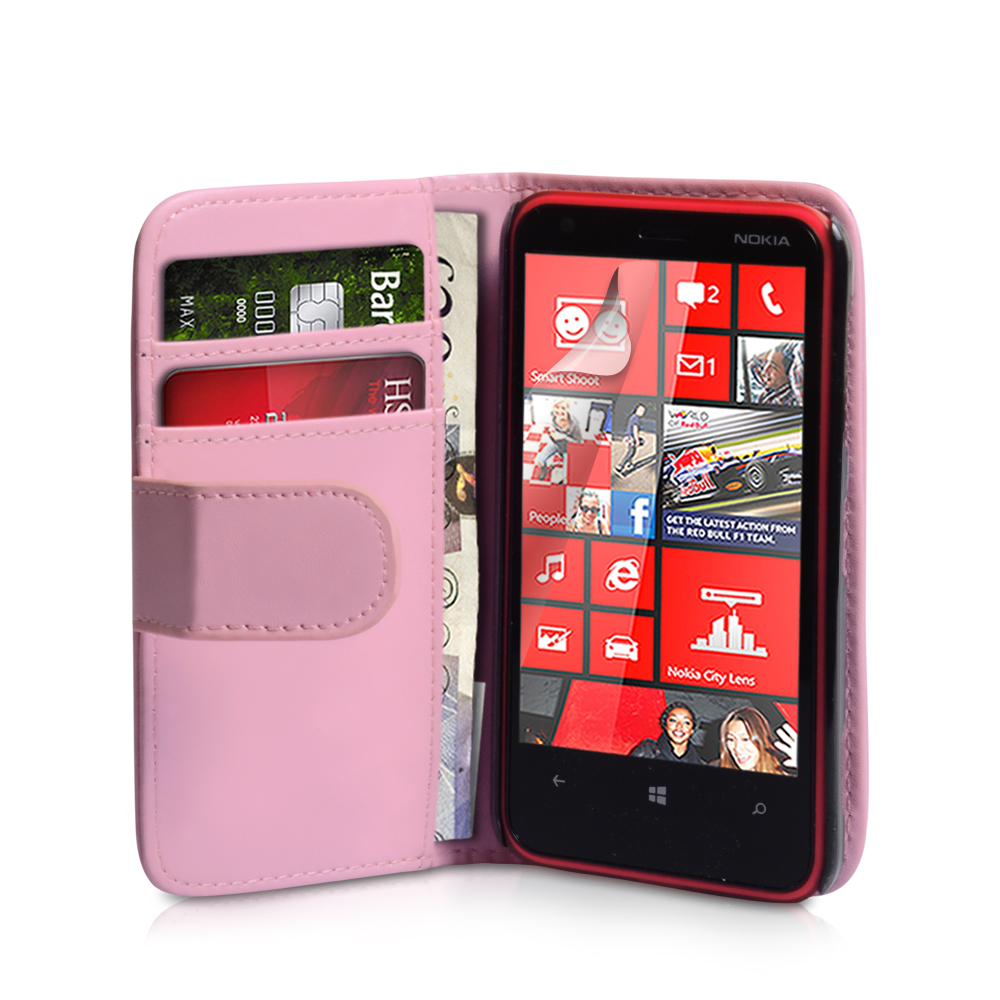 YouSave Nokia Lumia 620 Leather Effect Wallet Case - Baby Pink