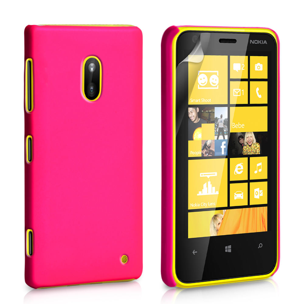YouSave Accessories Nokia Lumia 620 Hard Hybrid Case - Hot Pink