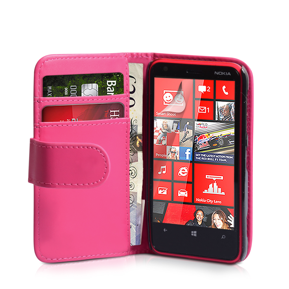 YouSave Nokia Lumia 620 Leather Effect Wallet Case - Hot Pink