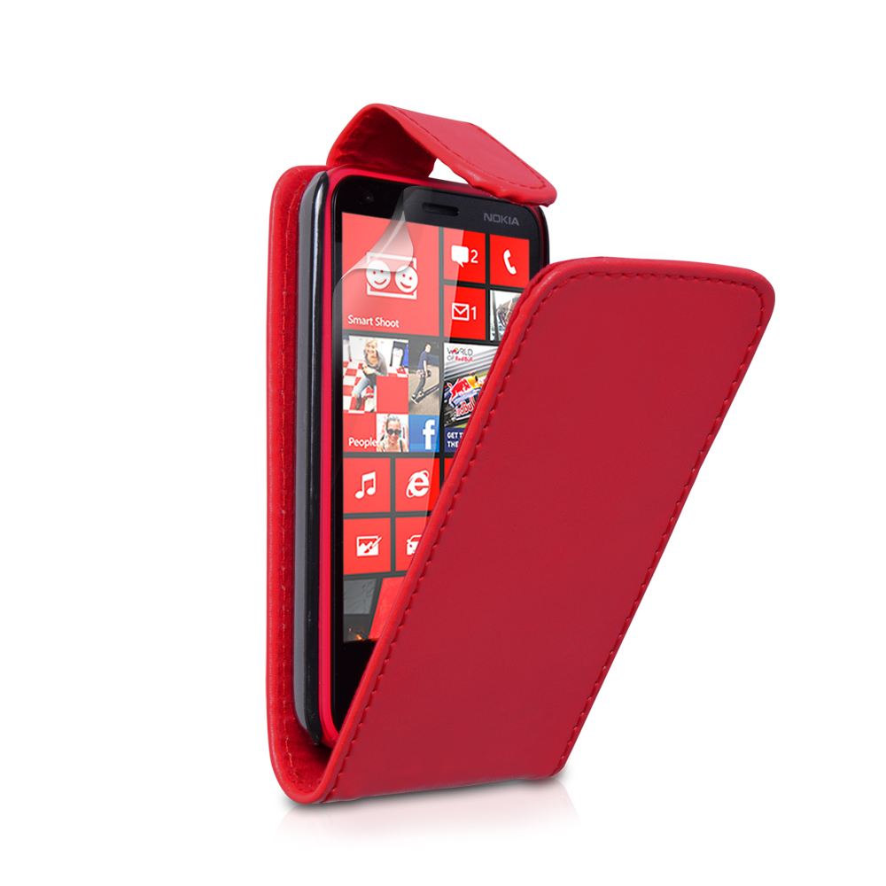 YouSave Accessories Nokia Lumia 620 Leather Effect Flip Case - Red