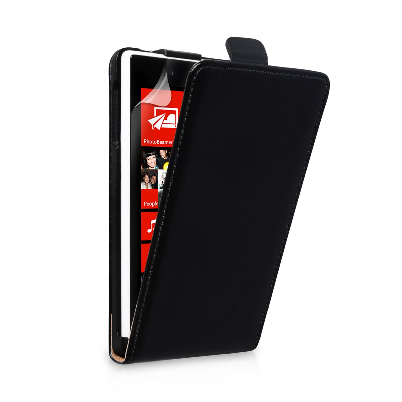YouSave Accessories Nokia Lumia 720 Real Leather Flip Case - Black