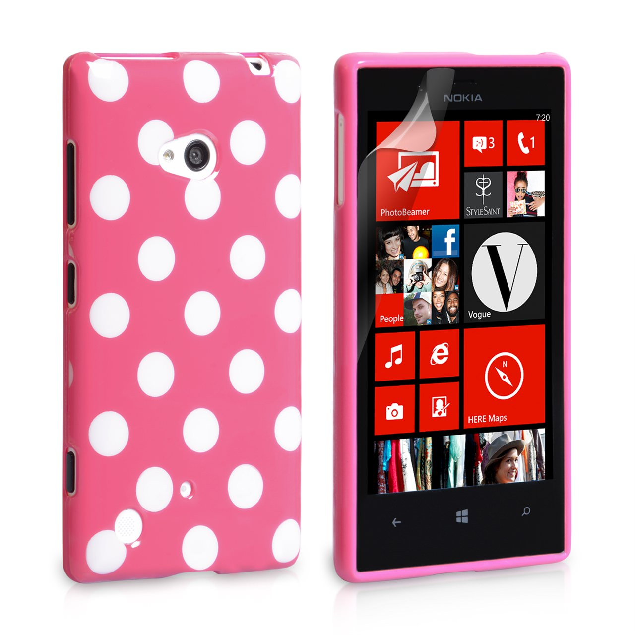 YouSave Accessories Nokia Lumia 720 Polka Dot Hard Case - Hot Pink