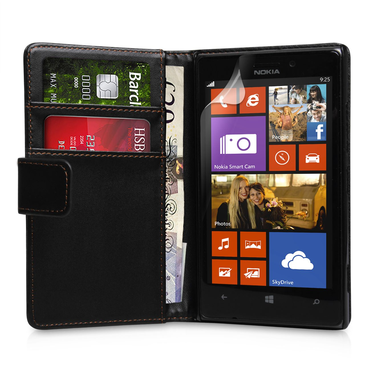 YouSave Nokia Lumia 925 Leather Effect  Wallet Case - Black