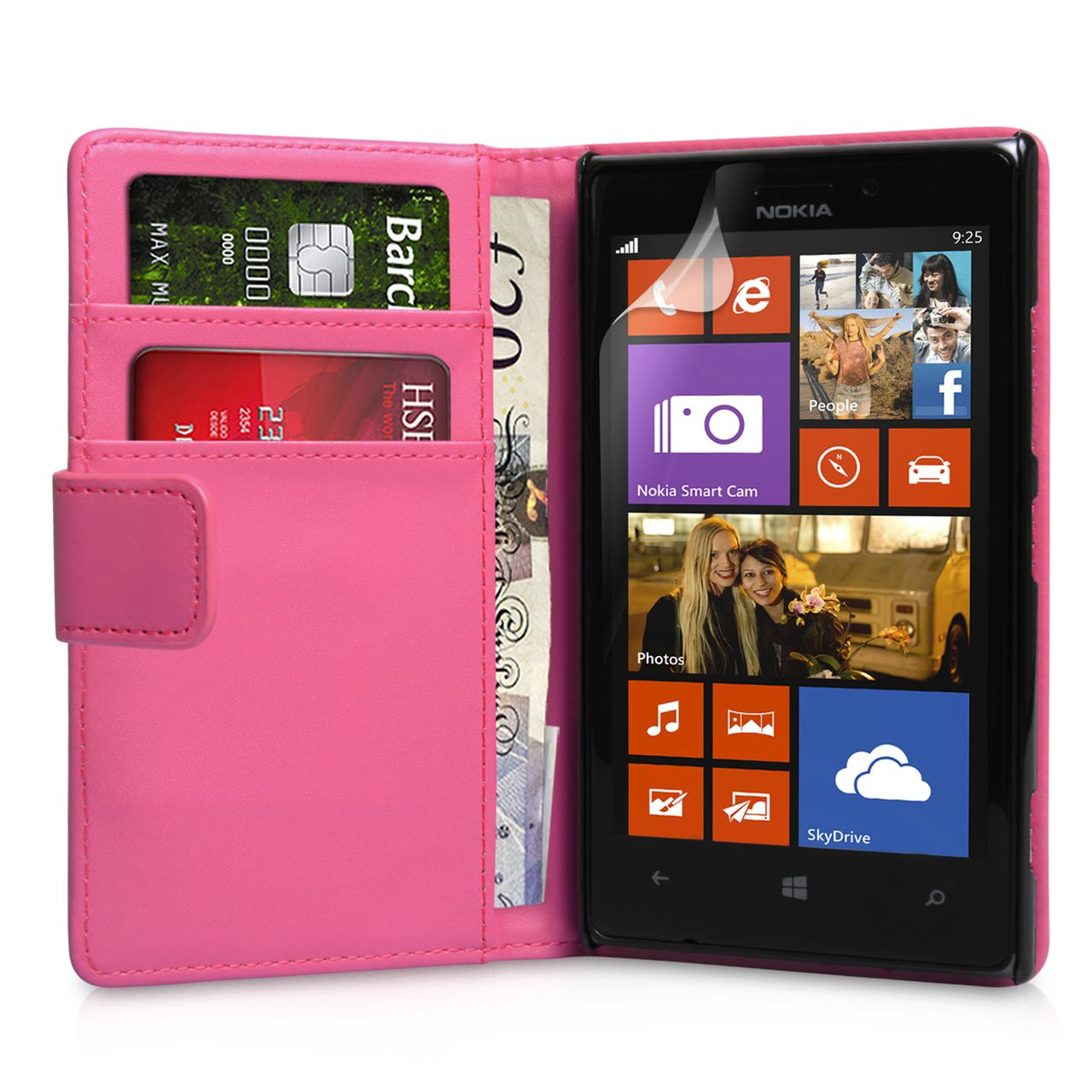YouSave Nokia Lumia 925 Leather Effect Wallet Case - Hot Pink