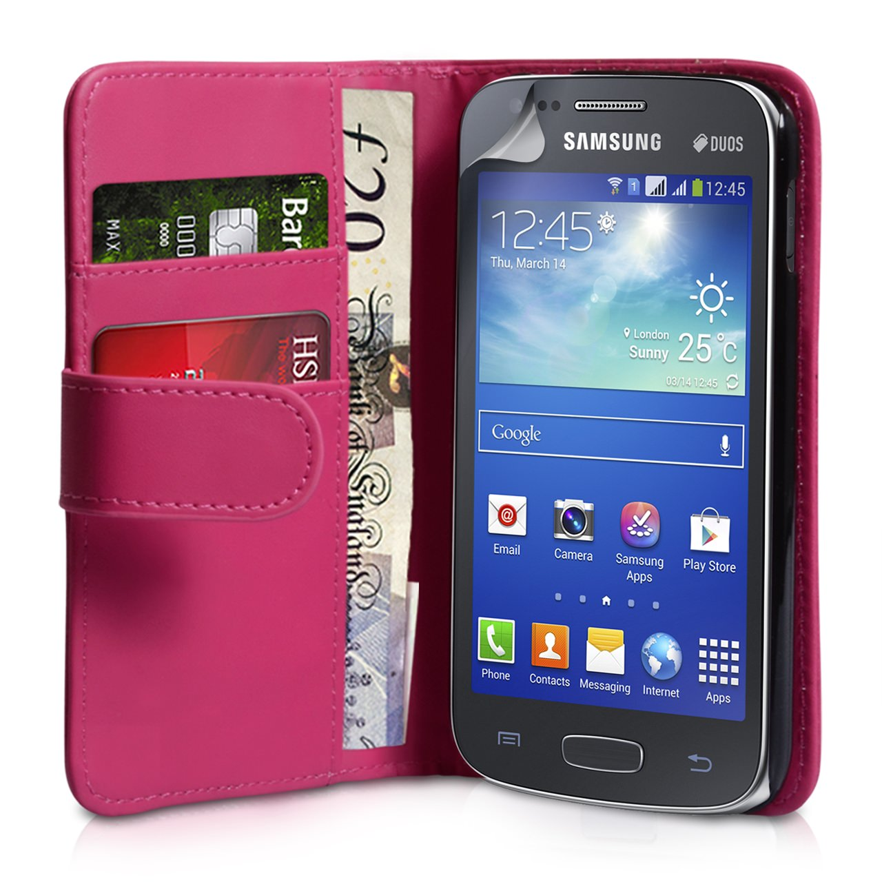 YouSave Samsung Galaxy Ace 3 Leather-Effect Wallet Case - Hot Pink
