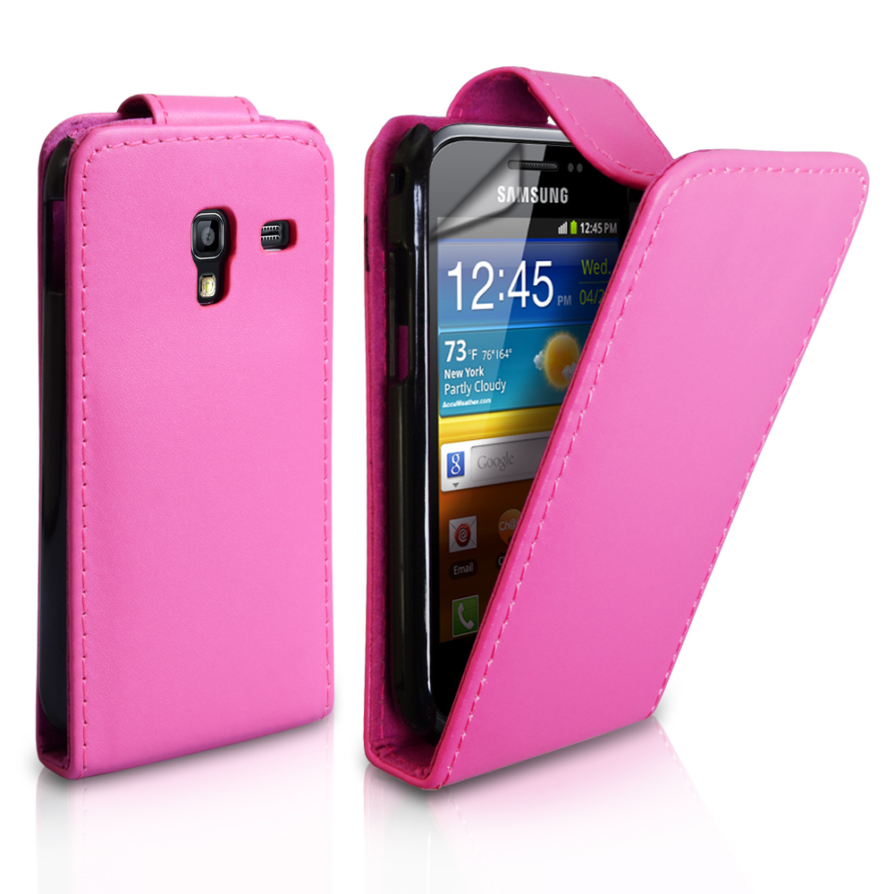 YouSave Samsung Galaxy Ace Plus Leather Effect Flip Case - Pink