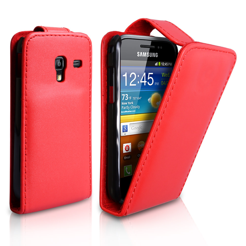 YouSave Samsung Galaxy Ace Plus Leather Effect Flip Case - Red