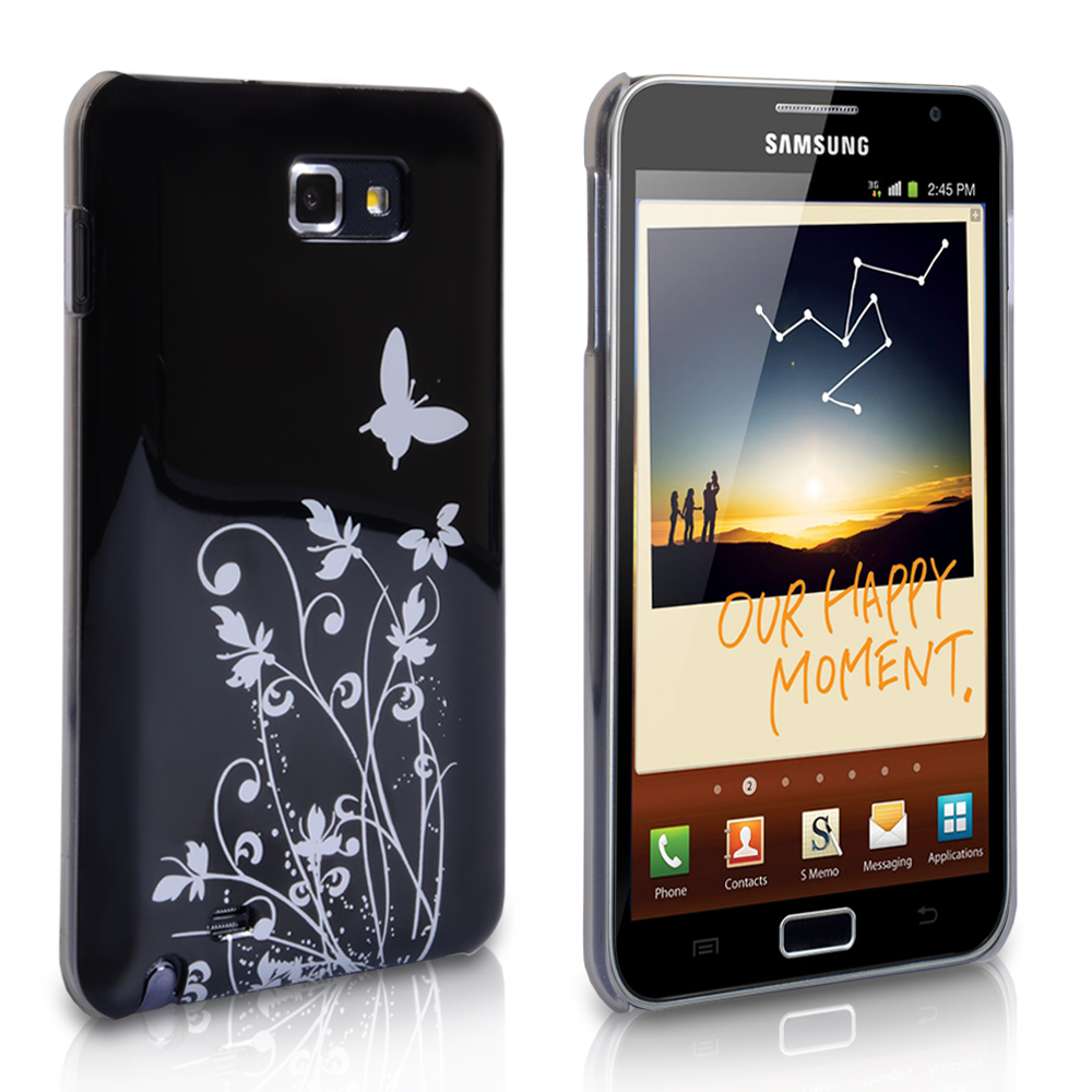 YouSave Samsung Galaxy Note Black-Silver Butterfly Hard Hybrid Case