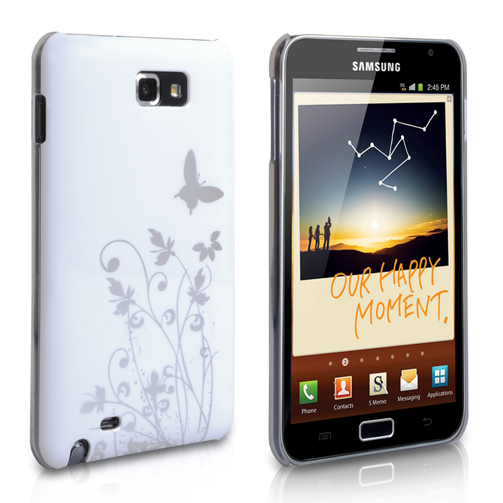 YouSave Samsung Galaxy Note White-Silver Butterfly Hard Hybrid Case