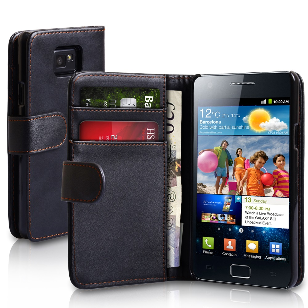 YouSave Samsung Galaxy S2 Leather Effect Wallet Case - Black