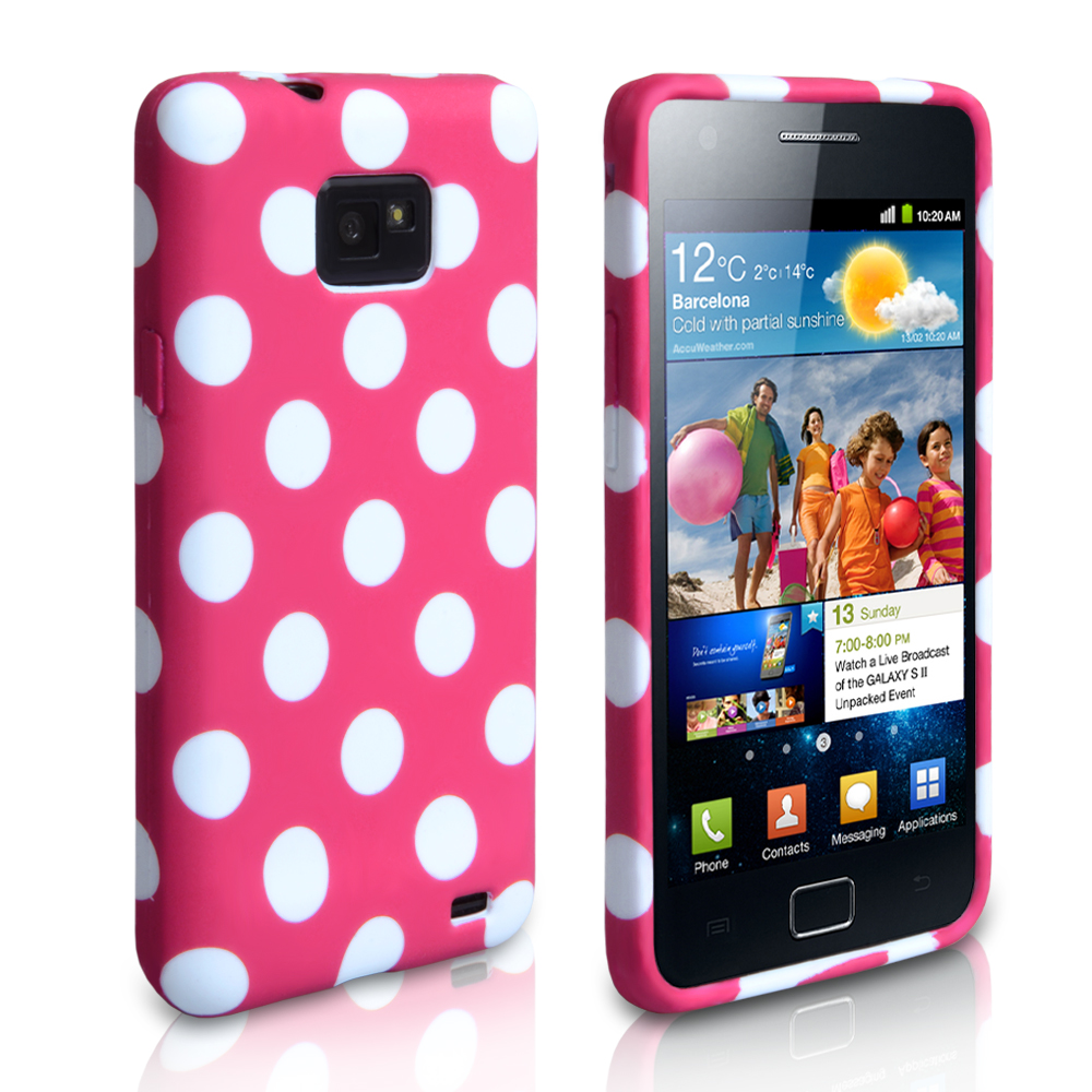 YouSave Accessories Samsung Galaxy S2 Polka Dot Gel Case - Hot Pink