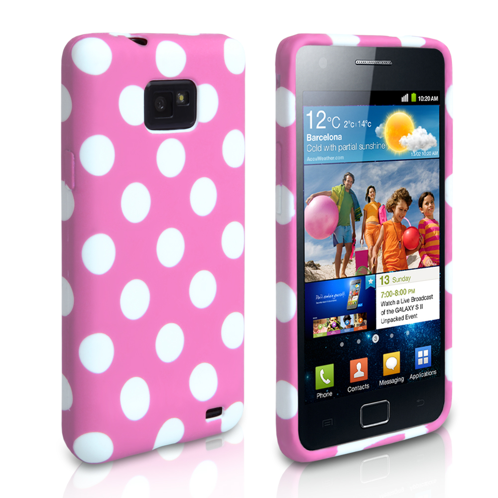 YouSave Accessories Samsung Galaxy S2 Polka Dot Gel Case - Baby Pink