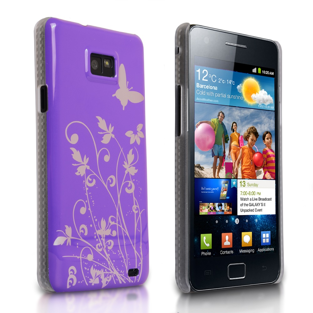 YouSave Samsung Galaxy S2 Purple-Silver Butterfly Flower Hybrid Case