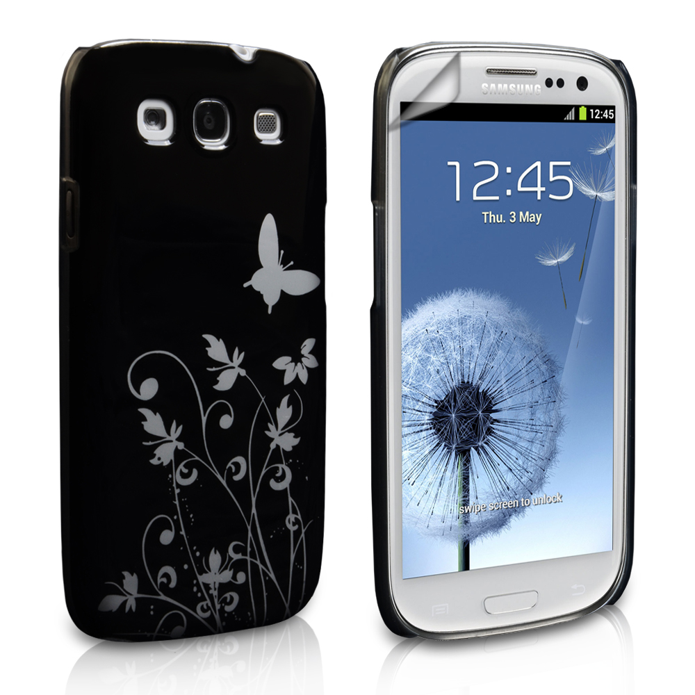 YouSave Accessories Samsung Galaxy S3  Butterfly IMD Hard Case - Black