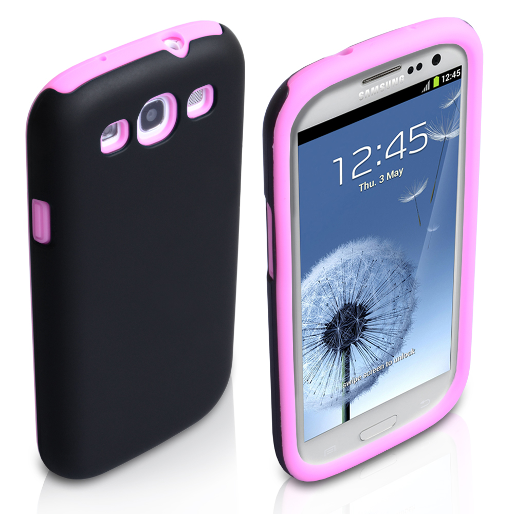 YouSave Accessories Samsung Galaxy S3 Dual Combo Case - Black/Pink