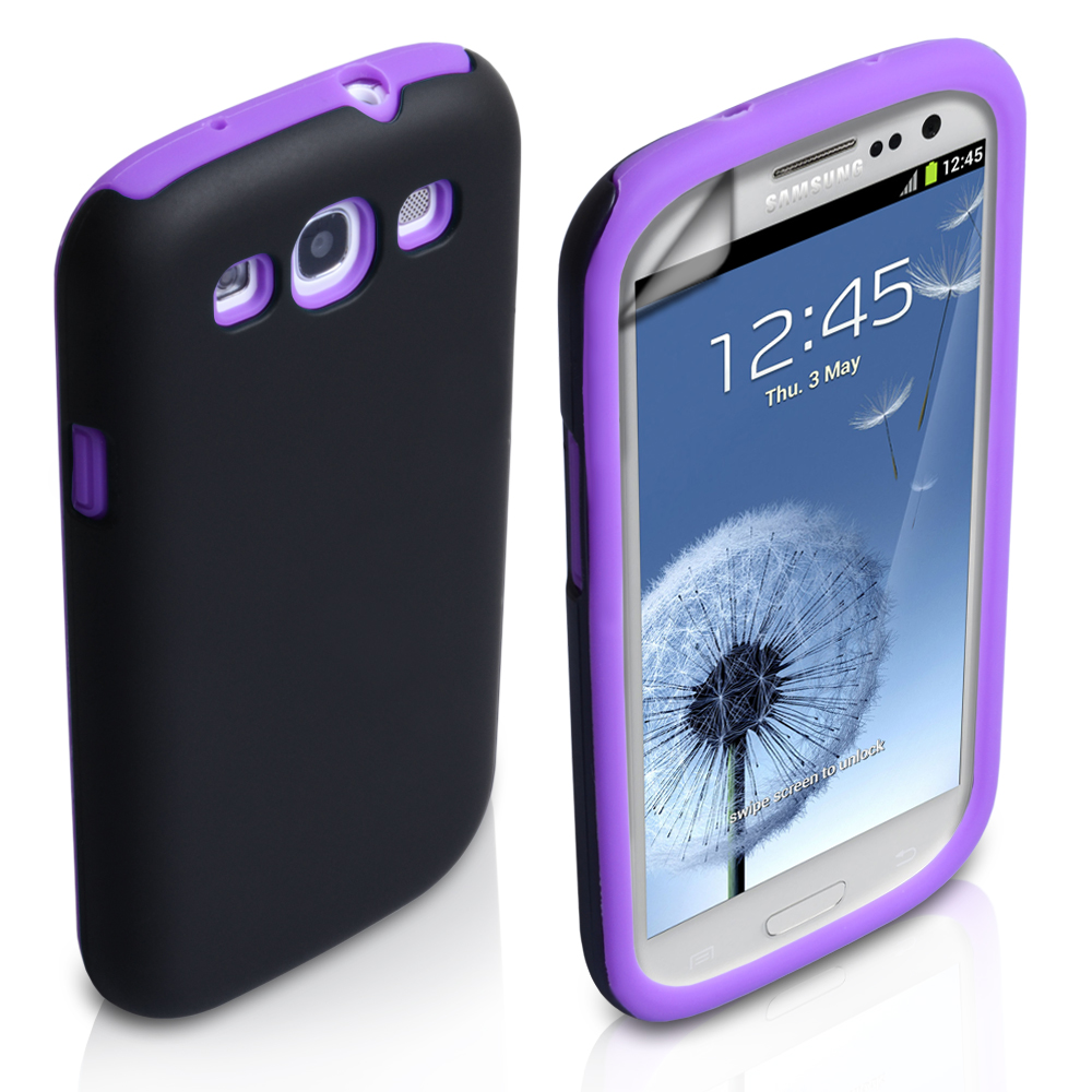YouSave Accessories Samsung Galaxy S3 Dual Combo Case - Black/Purple