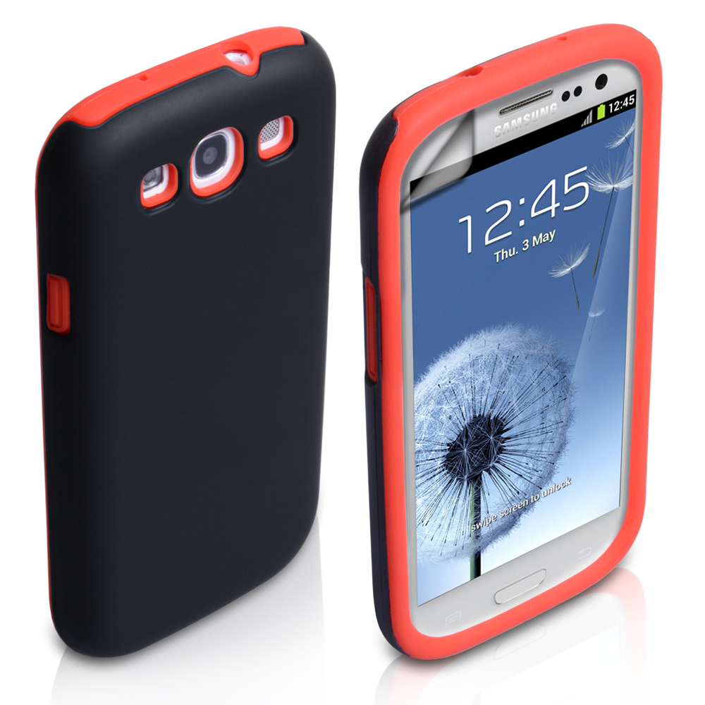 YouSave Accessories Samsung Galaxy S3 Dual Combo Case - Black/Red