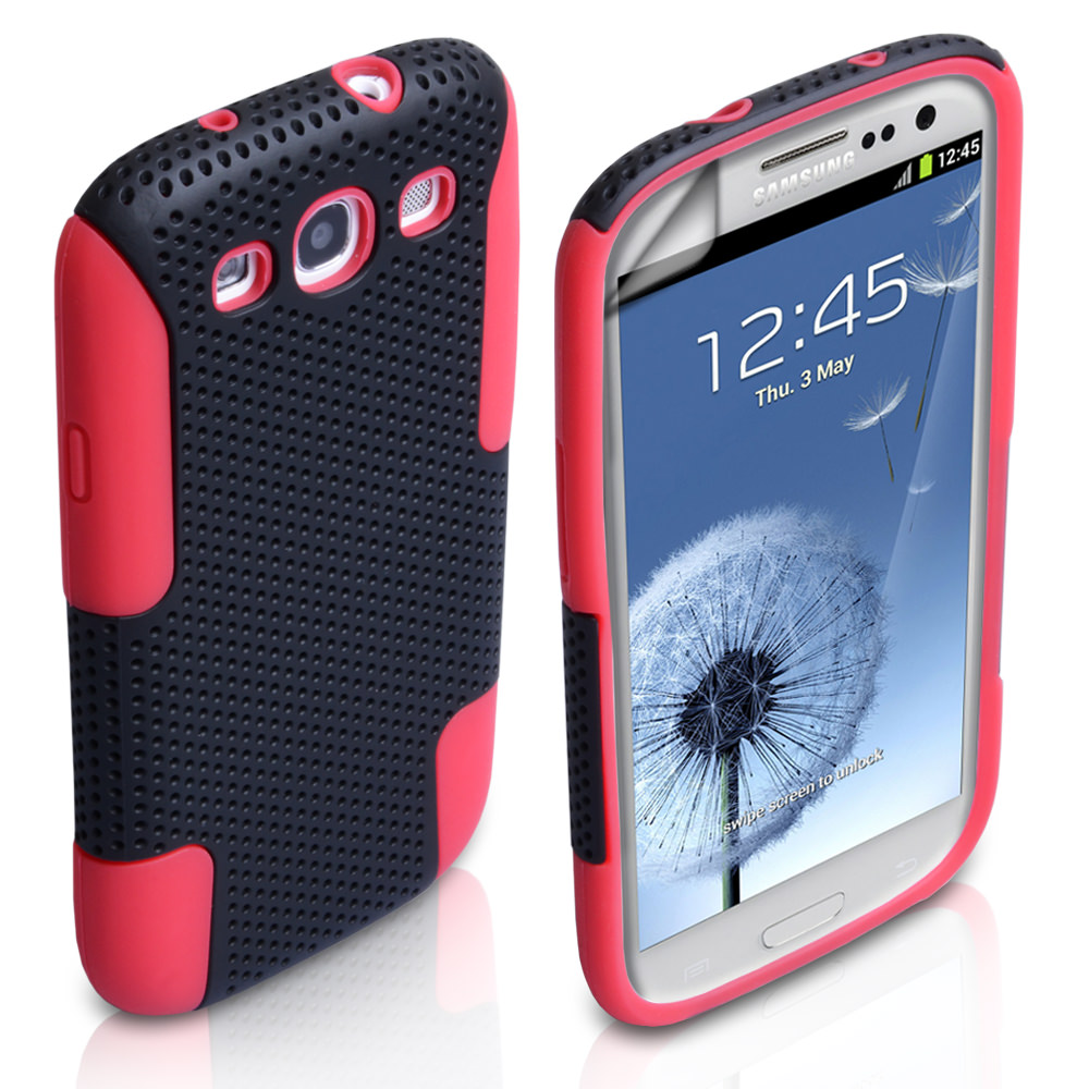 YouSave Accessories Samsung Galaxy S3 Dual Combo Mesh Case - Black/Red