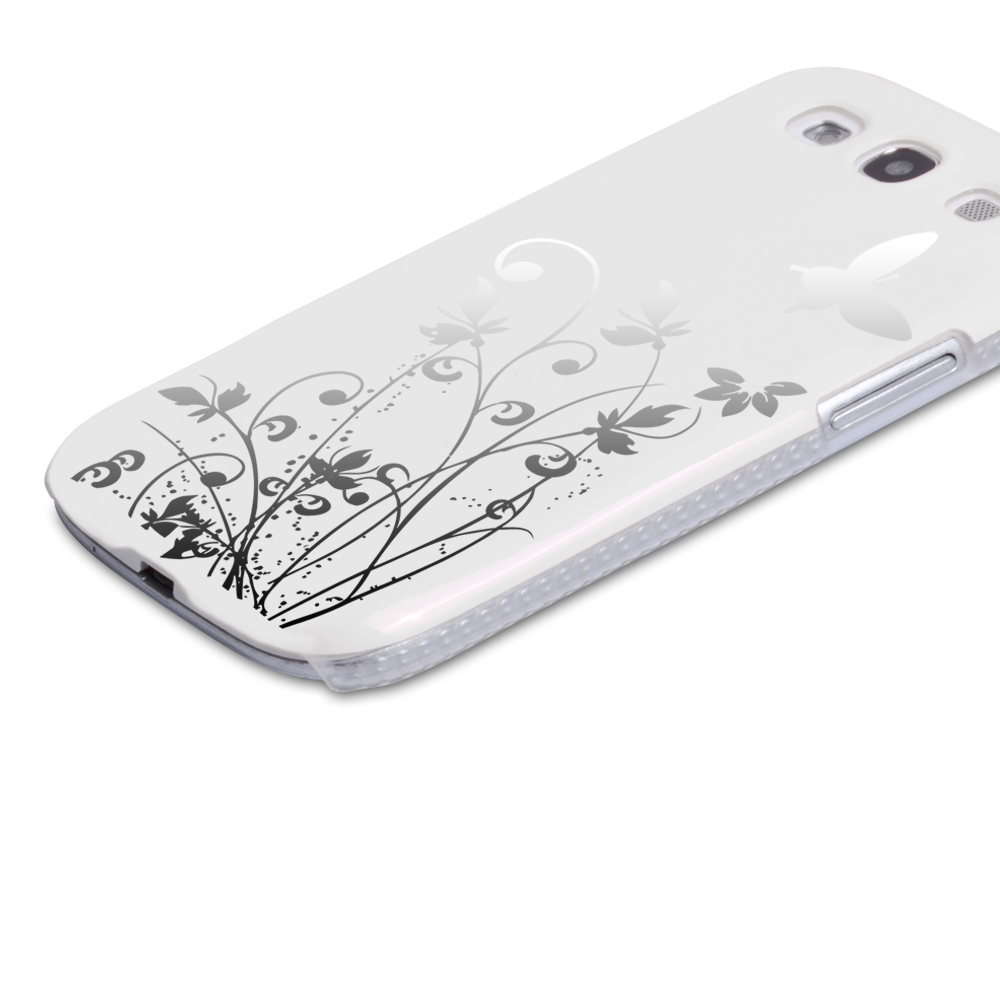 YouSave Samsung Galaxy S3 Floral Butterfly Hard Case - White-Silver
