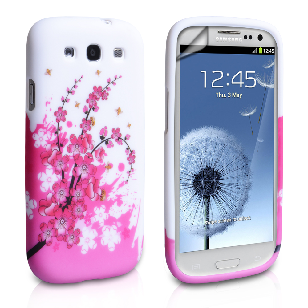 YouSave Accessories Samsung Galaxy S3 Floral Bee Case - White/Pink