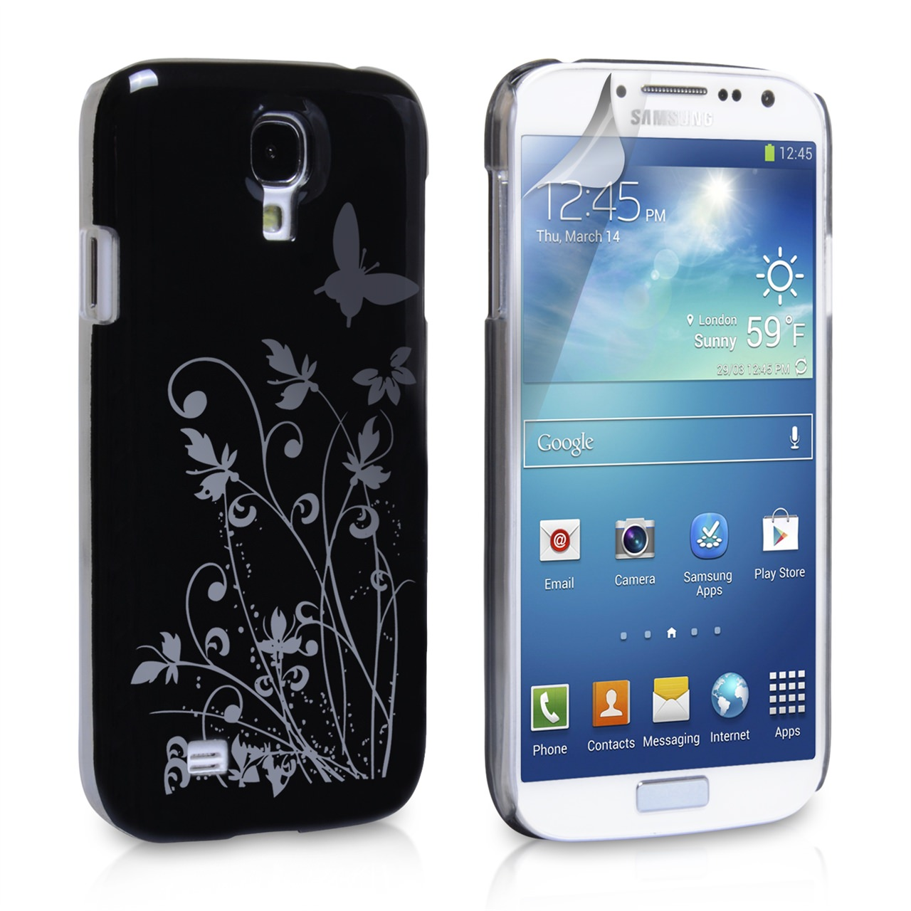 YouSave Samsung Galaxy S4 Floral Butterfly Hard Case - Black-Silver