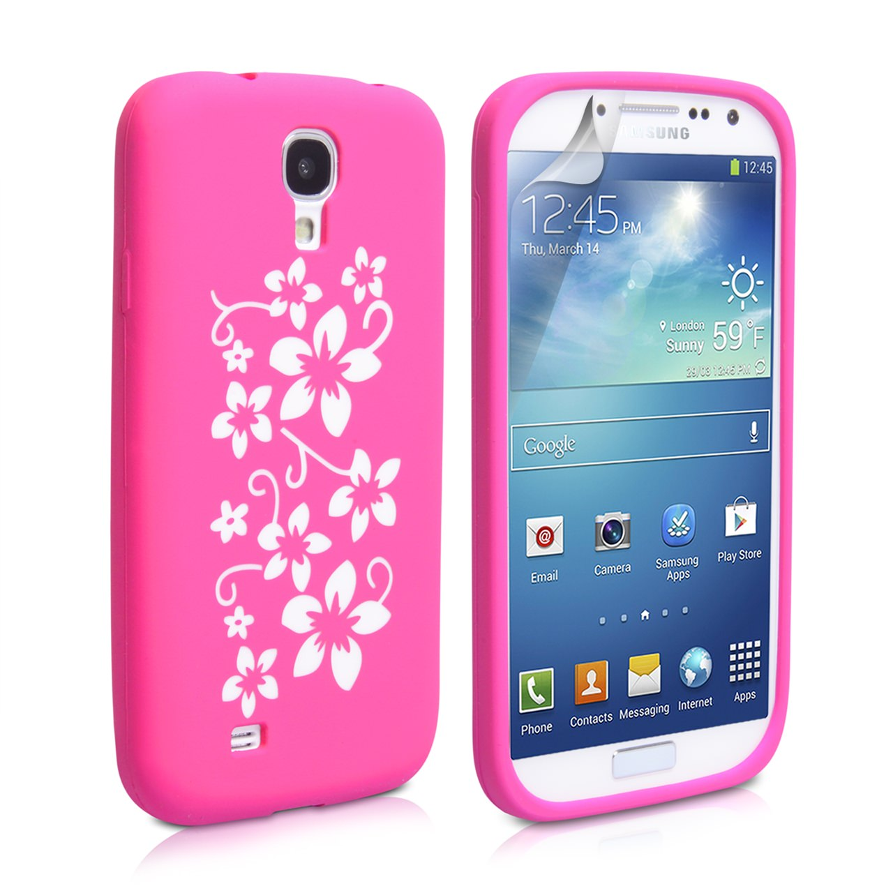YouSave Accessories Samsung Galaxy S4 Floral Gel Case - Hot Pink