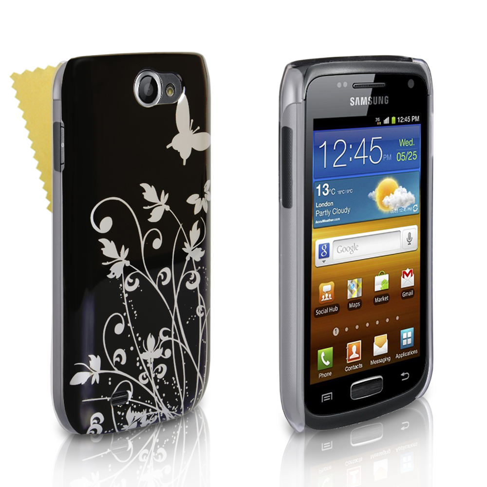 YouSave Samsung Galaxy W i8150 Black And Silver Butterfly Hard Case