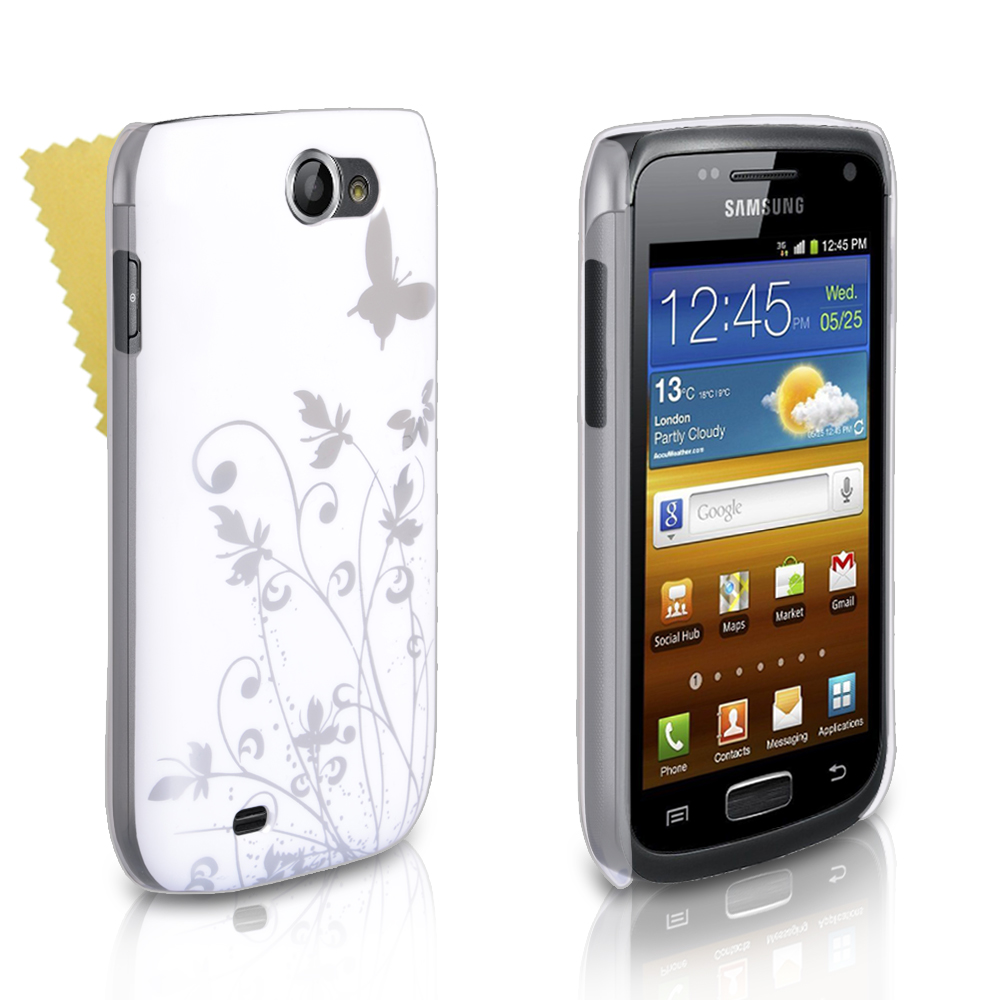 YouSave Samsung Galaxy W i8150 White And Silver Butterfly Hard Case