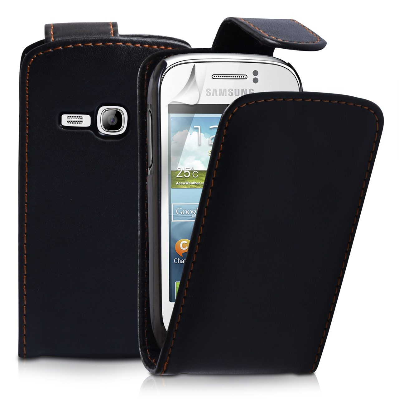 YouSave Samsung Galaxy Young Black Leather Effect Flip Case