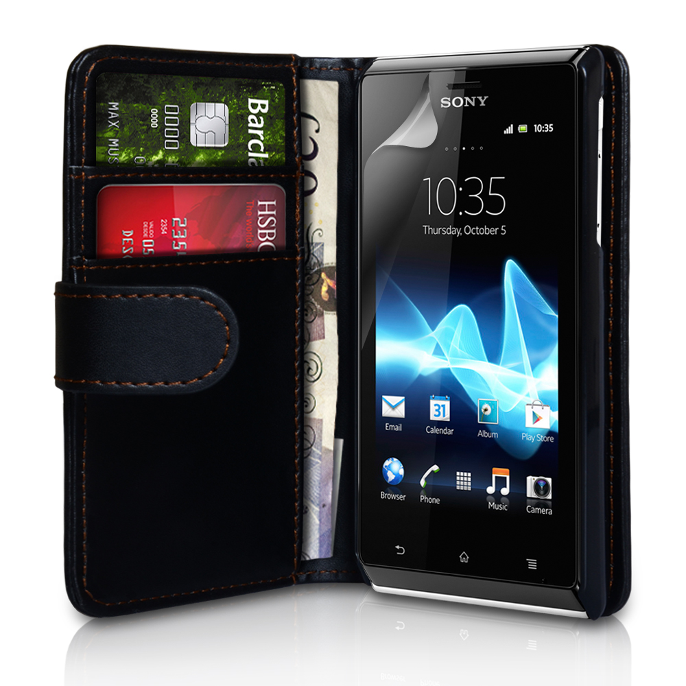 YouSave Accessories Sony Xperia J Leather Effect Wallet Case - Black